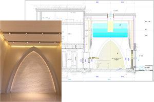 音楽ホールの断面図と内観